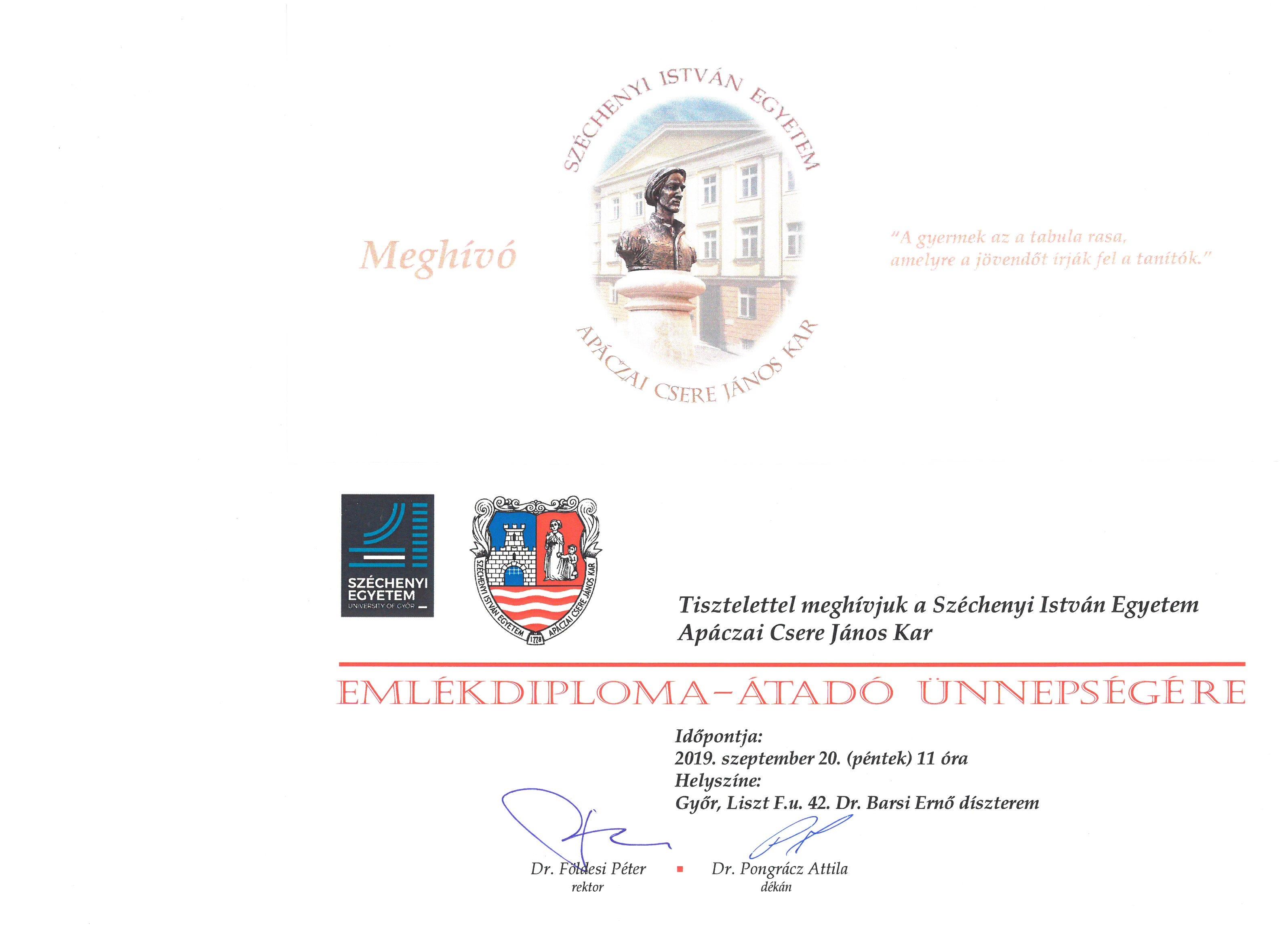 Emlékdiploma-átadó ünnepség 2019. szeptember 20. 11.00 óra