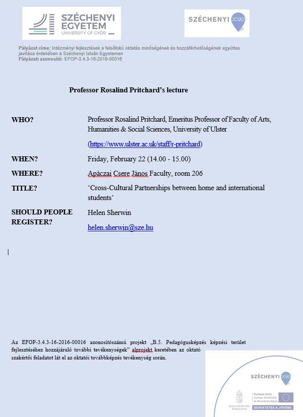 Professor Rosalind Pritchard (Ulster, Észak-Írország) előadása