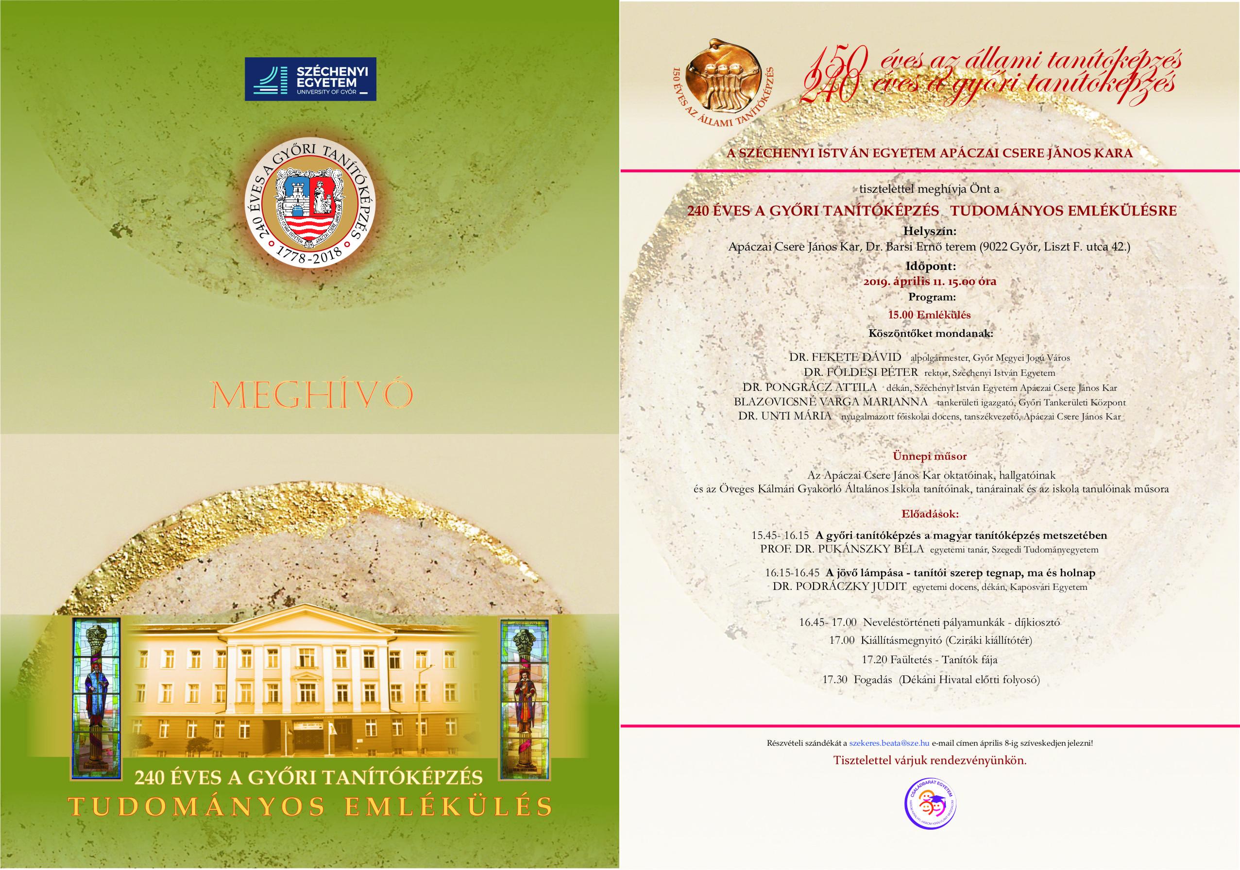 240 éves a győri tanítóképzés ünnepségsorozat Tudományos Emlékülés