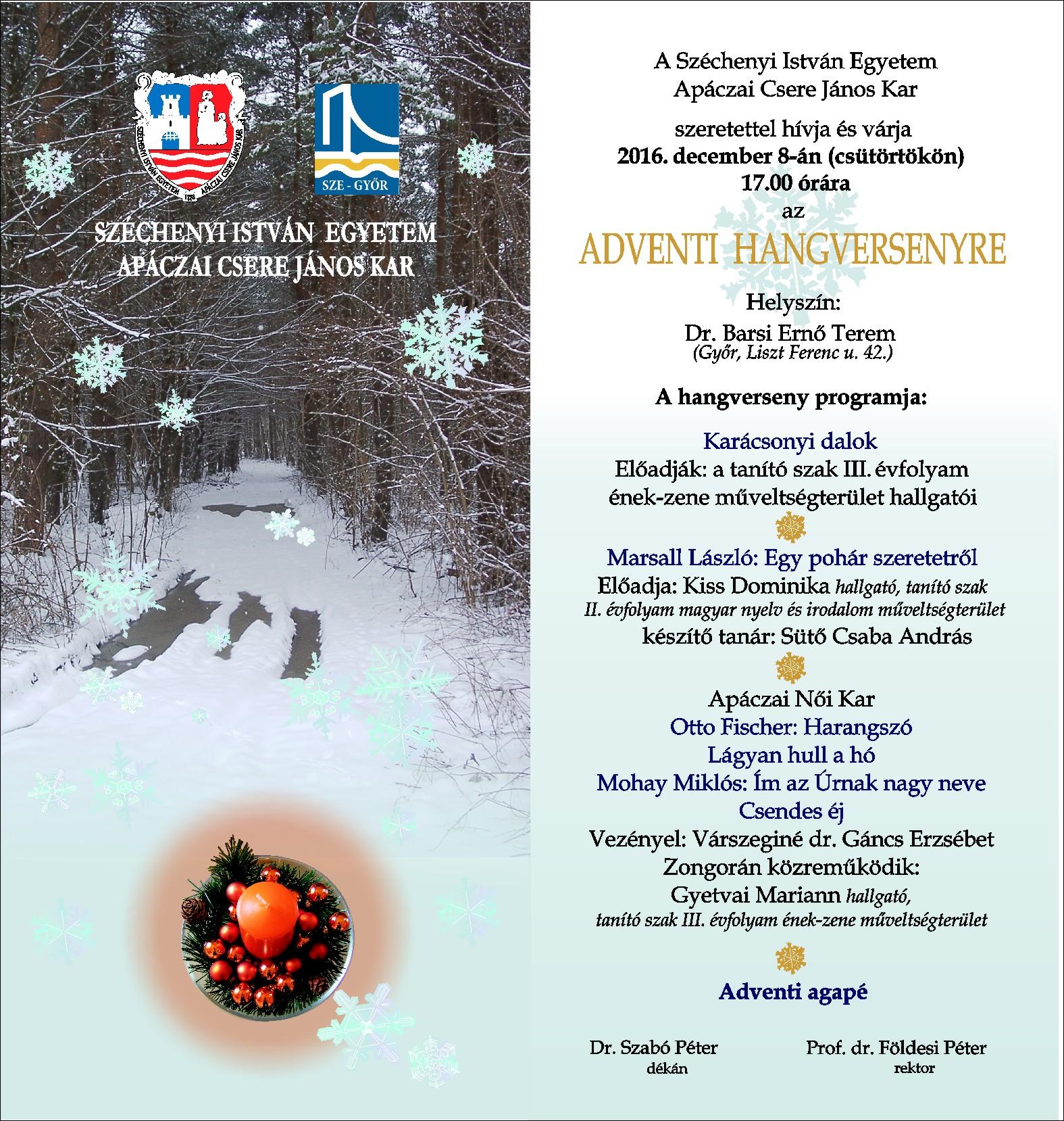 Apáczai Kar - Adventi hangverseny meghívó