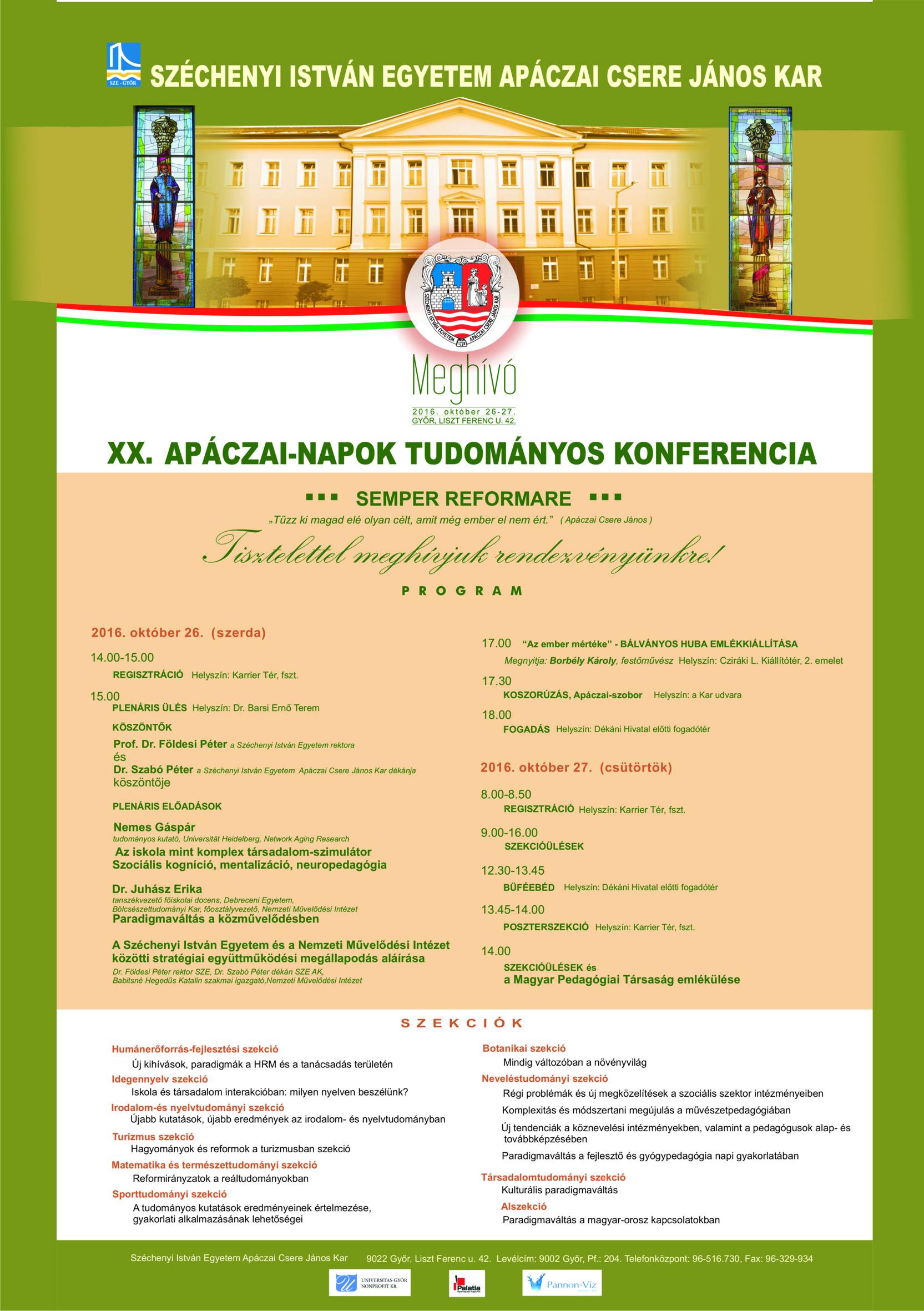 XX. Apáczai Napok Nemzetközi Tudományos Konferencia