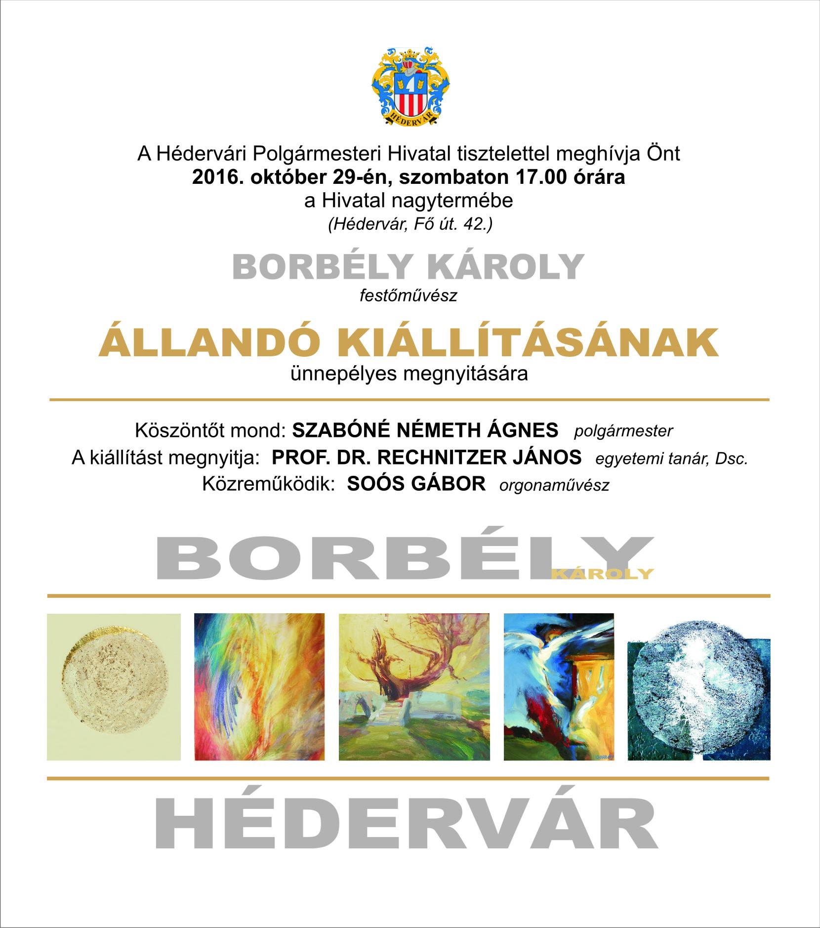 Borbély Károly állandó kiállításának ünnepélyes meghívója